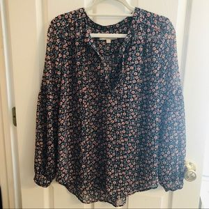 Loft Floral Long Sleeved Blouse EUC